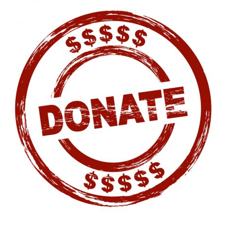 A stylized red stamp that shows the term donate. All on white background.
